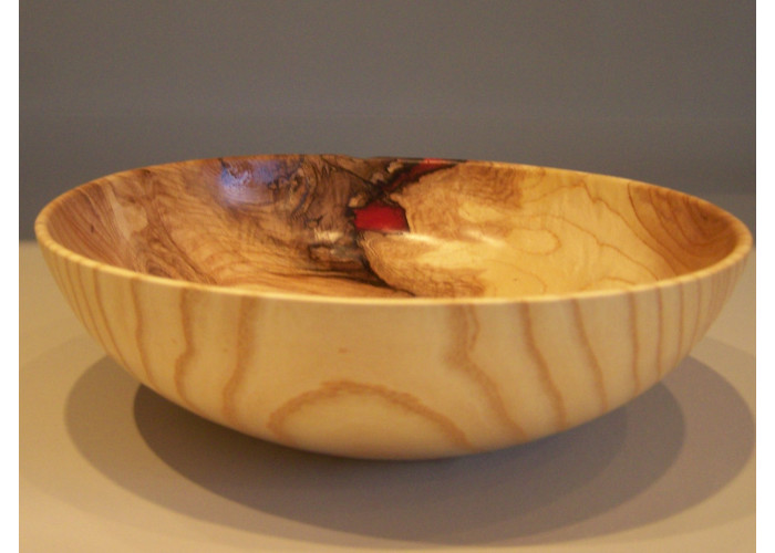 White Ash Salad Bowl with red epoxy